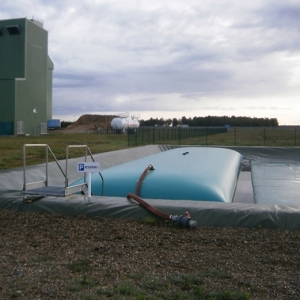 Tijdelijke bluswateropslag of afvalwateropslag